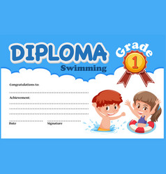 Swimming diploma certificate template vector