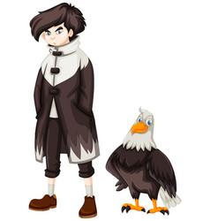 Teenage boy and wild eagle vector