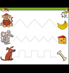 Trace lines writting skills workbook for children vector