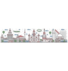 Travel in Russia country line flat design banner vector image