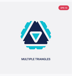 Two color multiple triangles inside hexagon icon vector