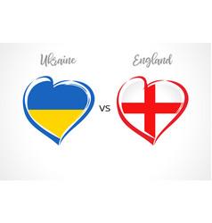 ukraine vs england flag emblems vector image
