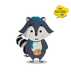 Universal cute raccoons set with family raccoon vector