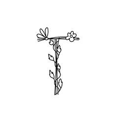 Vintage floral bold letter t logo spring classic vector