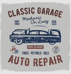 Vintage hand drawn auto repair t shirt design vector