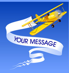 Vintage yellow airplane with a banner vector