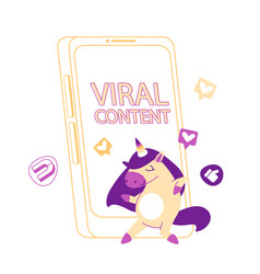 Viral content concept funny unicorn character vector