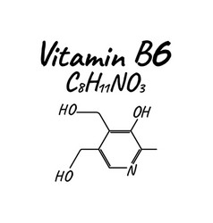 vitamin b6 label and icon chemical formula and vector image