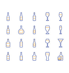 wine bottle line icons set of craft beer whiskey vector image