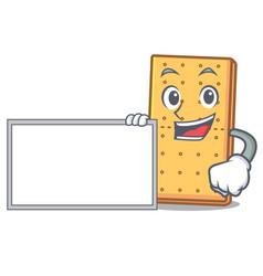 With board graham cookies character cartoon vector