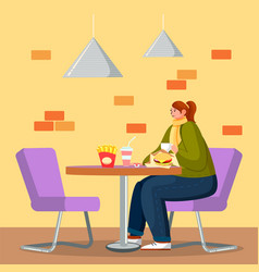 woman eating burger in fastfood restaurant vector image