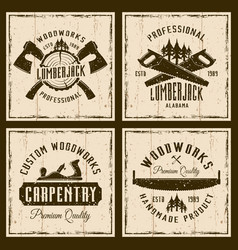 Woodworks and carpentry four colored retro emblems vector