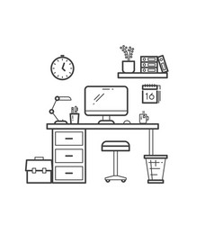 workspace line concept - outline workplace with vector image