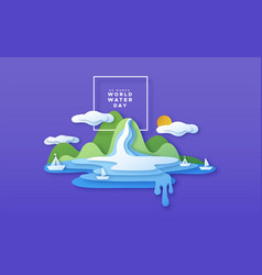 world water day paper cut boat beach concept vector image