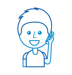 young man speaking using his mobile phone vector image