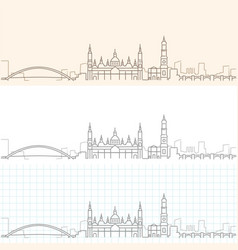 zaragoza hand drawn profile skyline vector image