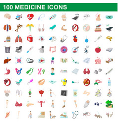 100 medicine icons set cartoon style vector image