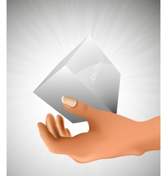 cube in the palm of your hand vector image