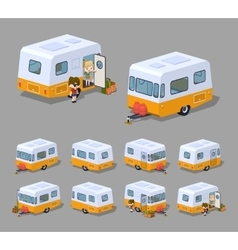Low poly retro motor home vector image vector image