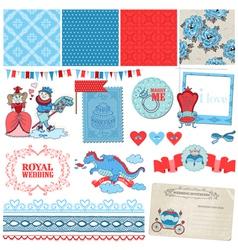 Princess and Prince Wedding Vintage Set vector image vector image