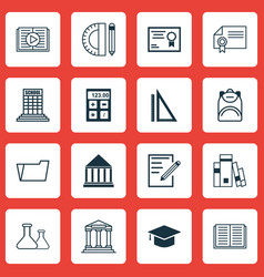 set of 16 school icons includes chemical vector image