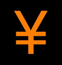 yen sign orange icon on black background old vector image