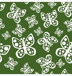 Beautiful seamless butterflies pattern in green vector image vector image