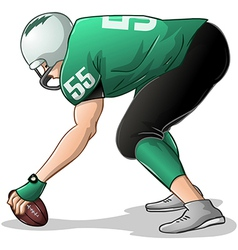 Football Player Kneels and Holds Ball Side View vector image vector image