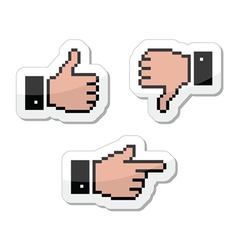Pixel cursor icons - thumb up like it pointing vector