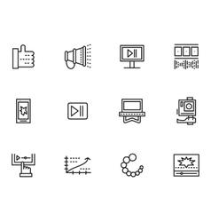 Simple line icons set for v-blog vector image