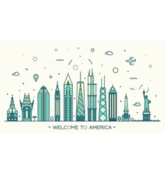 United States America skyline linear style vector image vector image