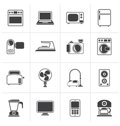 Black household appliances and electronics icons vector image vector image
