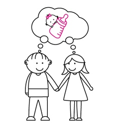 couples with the desire to have a child vector image