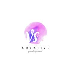 vs watercolor letter logo design with purple vector image vector image