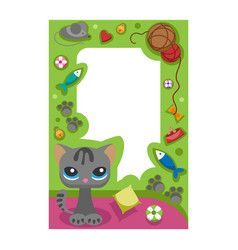 cute happy birthday border cat photo frame vector image