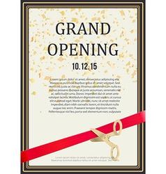 grand opening design scissors cut red ribbon vector image