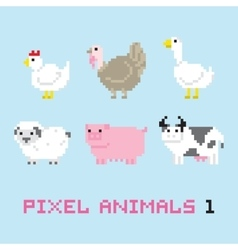 Pixel art style farm animals cartoon set 1 vector image vector image