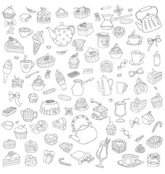 set of different sweets without color vector image