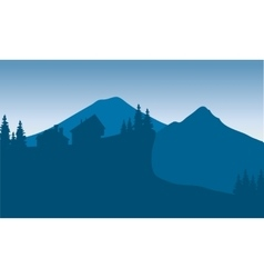 Silhouette of houese in hills vector image vector image