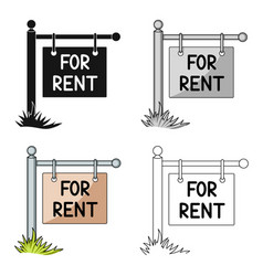 a sign on the pole for rentrealtor single icon in vector image