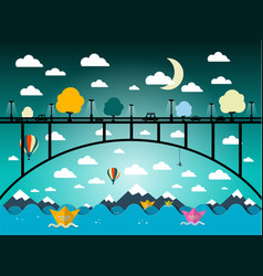 abstract flat design landscape with bridge vector image
