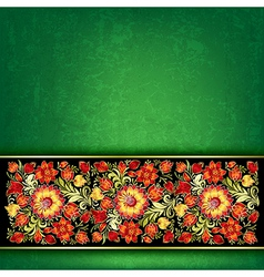 Abstract grunge green background with red floral vector
