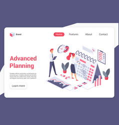 Advanced planning landing page template vector