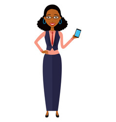 african american woman with mobile phone isolated vector image
