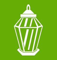 arabic lantern icon green vector image