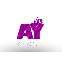 Ay a y dots letter logo with purple bubbles vector