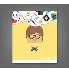 Book cartoon doodle man rectangle play games vector