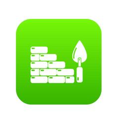 brick wall icon green vector image