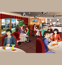 Business people having lunch together vector