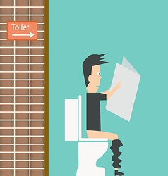 Businessman reading newspaper in restroom vector